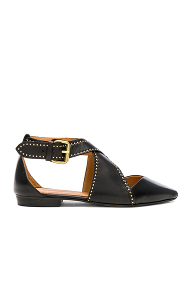 Isabel Marant Leather Lymoa Ankle Strap Flats in Black
