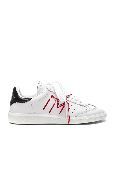 Isabel Marant Leather Bryce Contrast Stitched Sneakers in White
