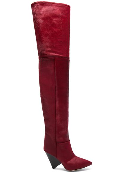 Isabel Marant Calf Hair Lostynn Thigh High Boots in Red