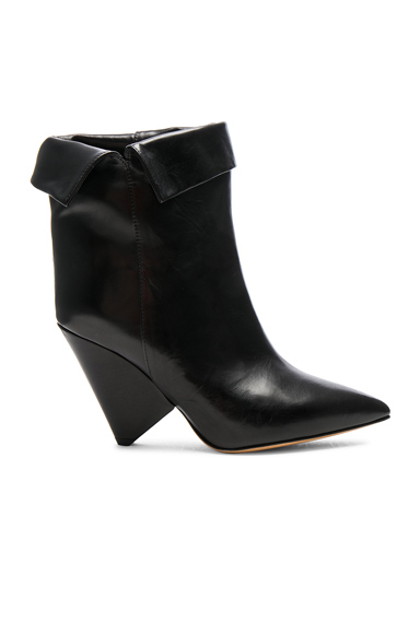 Isabel Marant Leather Luliana Ankle Boots in Black