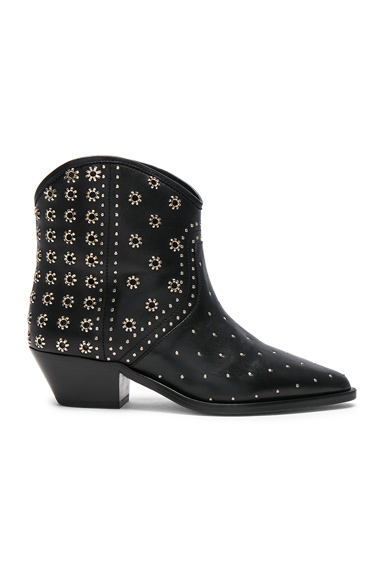 Isabel Marant Domya Studded Leather Ankle Boots in Black