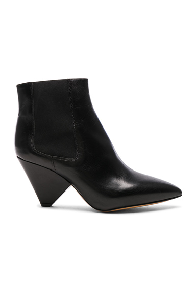 Isabel Marant Leather Lashby Low Boots in Black
