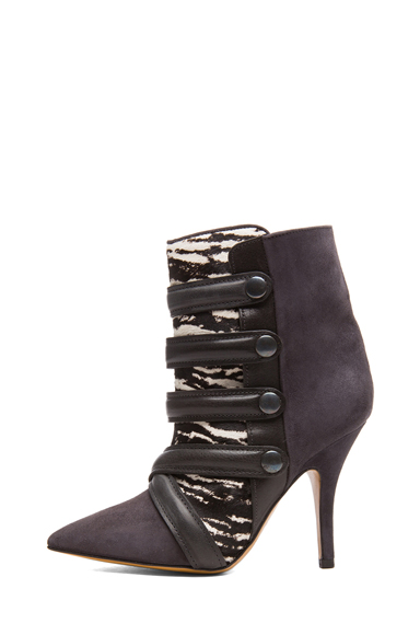 Isabel Marant|Tacy Goat Suede Leather Pony Booties in Anthracite [1]