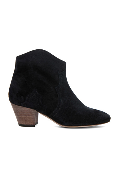 Isabel Marant Dicker Calfskin Velvet Leather Booties in Black