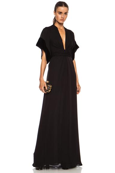 ISSA | Pollyanna Knot Front Maxi Silk Dress in Onyx