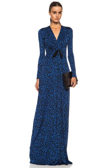 ISSA | Cilla Maxi Silk-Blend Dress in Blue