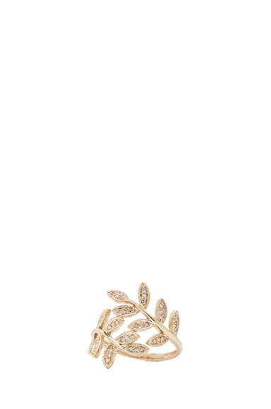 JACQUIE AICHE | 14K Pave Leaves Wrap Ring in Yellow Gold
