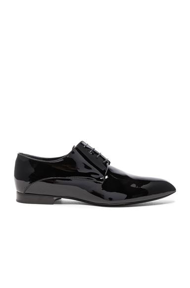 Jil Sander Patent Leather Oxfords in Black