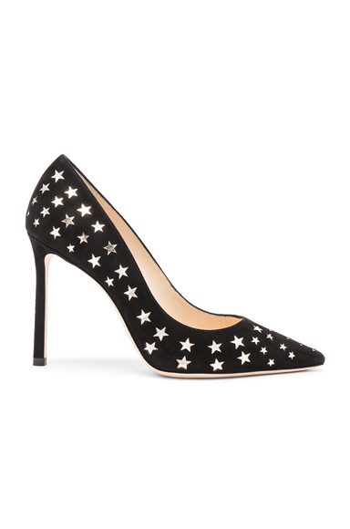 Jimmy Choo Suede Romy Heels in Black, Geometric Print
