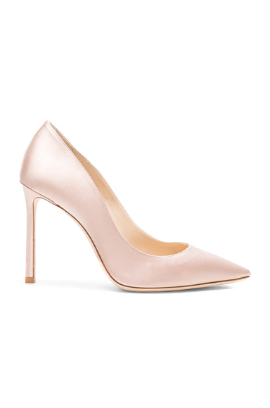 Jimmy Choo Satin Romy Heels in Pink