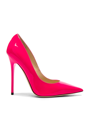 Jimmy Choo Neon Patent Leather Anouk Heels in Pink