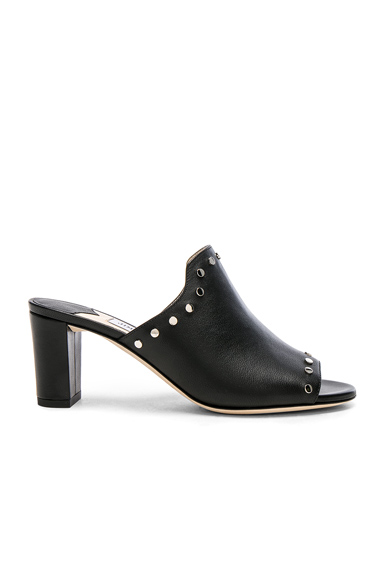 Jimmy Choo Leather Myla Mules with Studs in Black