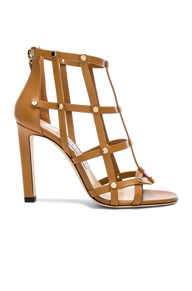 Jimmy Choo Leather Tina Sandals with Studs in Neutrals