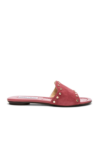 Jimmy Choo Suede Nanda Flats with Studs in Pink