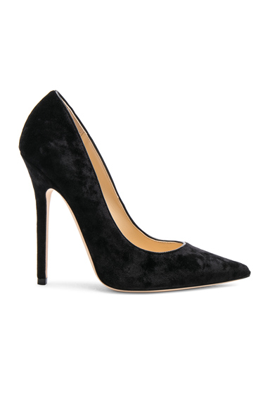 Jimmy Choo Crushed Velvet Anouk Heels in Black