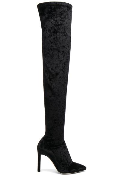 Jimmy Choo Crushed Stretch Velvet Lorraine Boots in Black