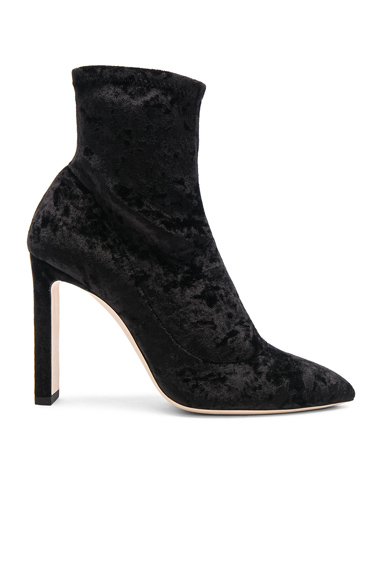 Jimmy Choo Crushed Stretch Velvet Louella Boots in Black