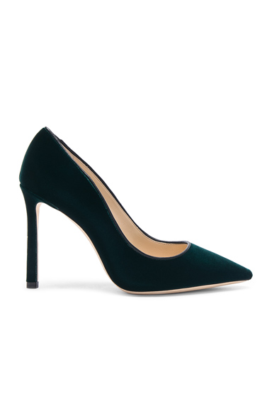Jimmy Choo Velvet Romy Heels in Green