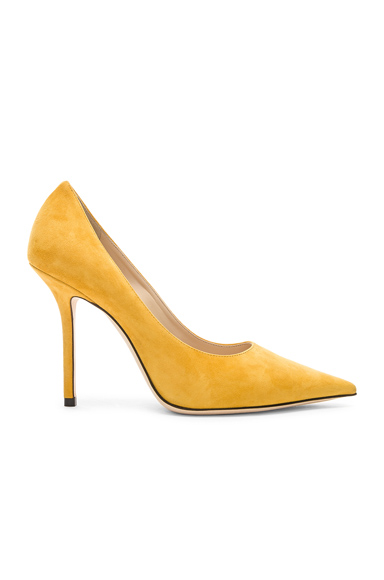 JIMMY CHOO | Jimmy Choo Love 100 Suede Heel In Yellow. - Size 41 (Also In 39,39.5,40,40.5) | Goxip