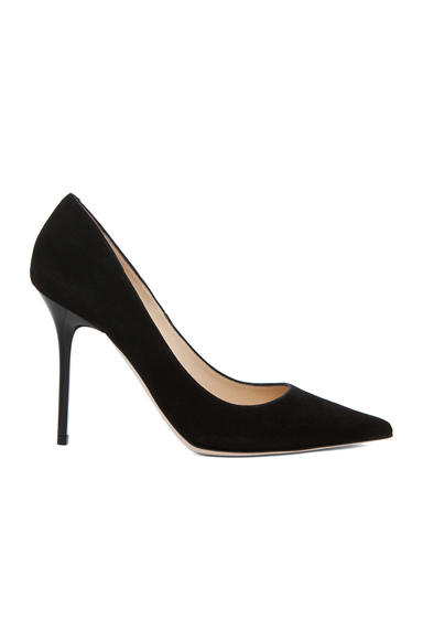 Jimmy Choo Abel Pointed Suede Pumps in Black