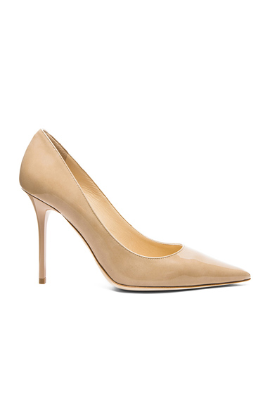 Jimmy Choo Abel Pointed Patent Leather Pumps in Neutrals