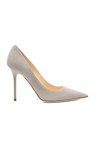 Jimmy Choo Abel Pointed Suede Pumps in Gray
