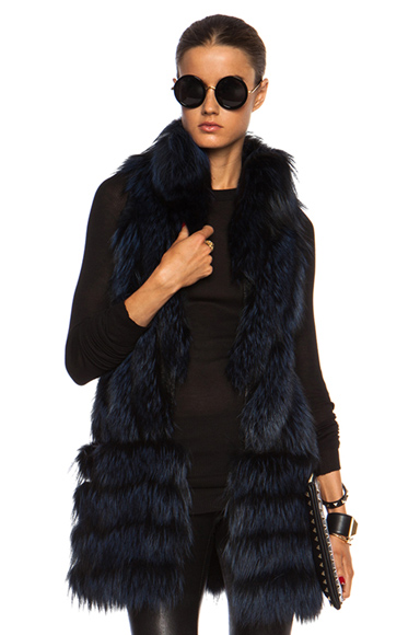 J. Mendel|Silver Fox Vest with Lace in Navy Blue [1]
