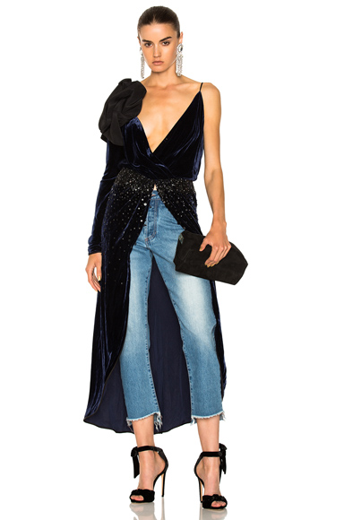 Johanna Ortiz Carmelilla Silk Rayon Velvet Embellished Dress in Blue