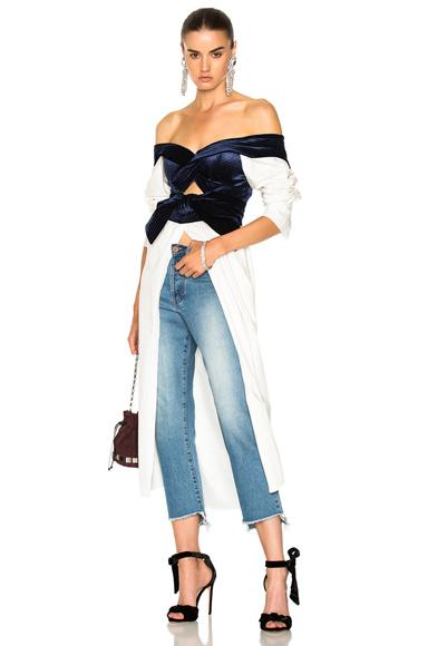 Johanna Ortiz Carmen Cotton Poplin & Silk Rayon Velvet Dress in White, Blue
