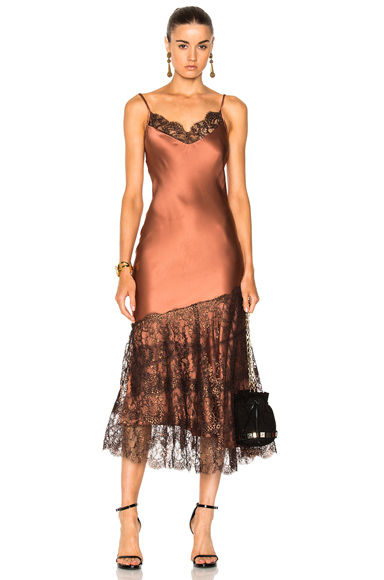 Johanna Ortiz La Maria Silk Charmeuse Embroidered Dress in Bronce in Brown, Metallics, Neutrals