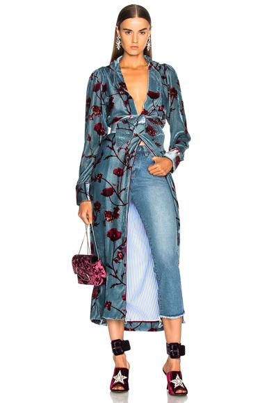 Johanna Ortiz Florari Printed Silk Rayon Velvet Belted Kimono in Blue