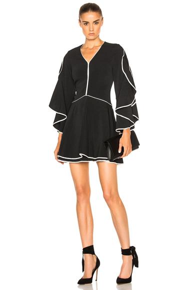 JONATHAN SIMKHAI Ruffle Sleeve Combo Dress in Black