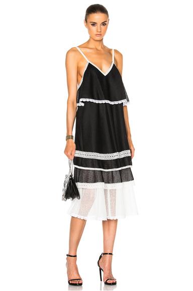 JONATHAN SIMKHAI Voile Slip Dress in Black