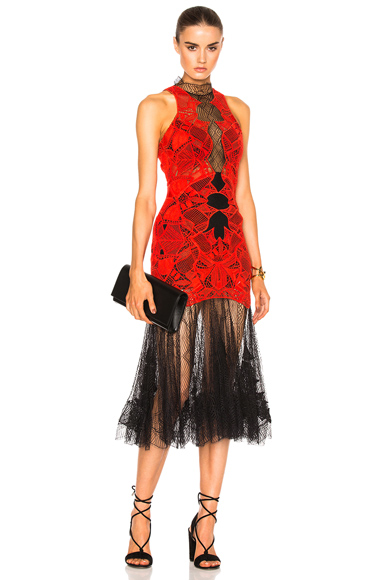 JONATHAN SIMKHAI Dome Lace Corded Dress in Black, Red