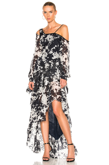 JONATHAN SIMKHAI Silk Tie Dye One Shoulder Gown in Abstract, Blue, Gray