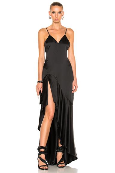 JONATHAN SIMKHAI Silk High Low Gown in Black