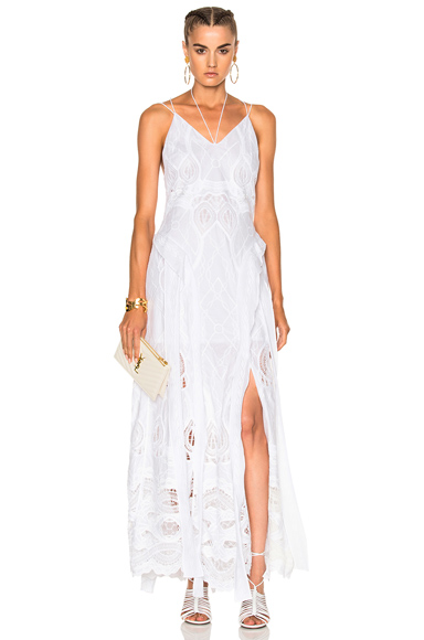 JONATHAN SIMKHAI Crochet Embroidered Deep V Maxi Gown in White