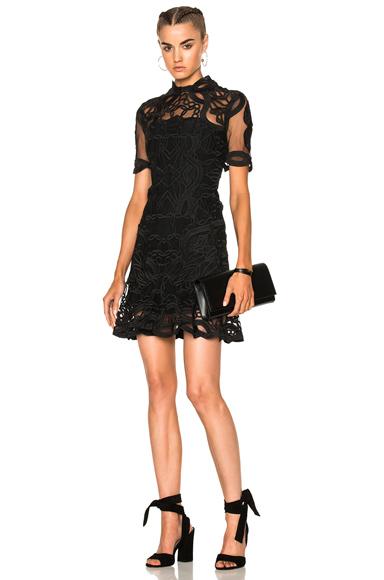 JONATHAN SIMKHAI Truss Applique Cap Sleeve Mini Flare Dress in Black