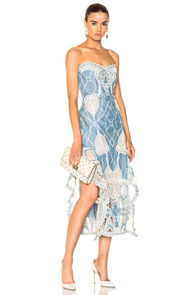 JONATHAN SIMKHAI Crochet Embroidered Bustier Ruffle Midi Dress in Blue, White