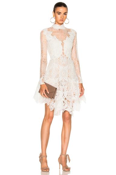 JONATHAN SIMKHAI Multimedia Corded Long Sleeve Lace Dress in White