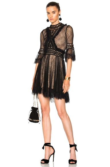 JONATHAN SIMKHAI Crochet Panel Dress in Black
