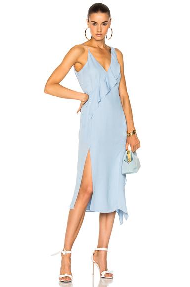 JONATHAN SIMKHAI Draped Silk Hanging Ruffle Dress in Blue