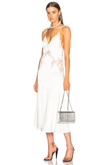 JONATHAN SIMKHAI Stretch Lace Satin Slip Dress in White