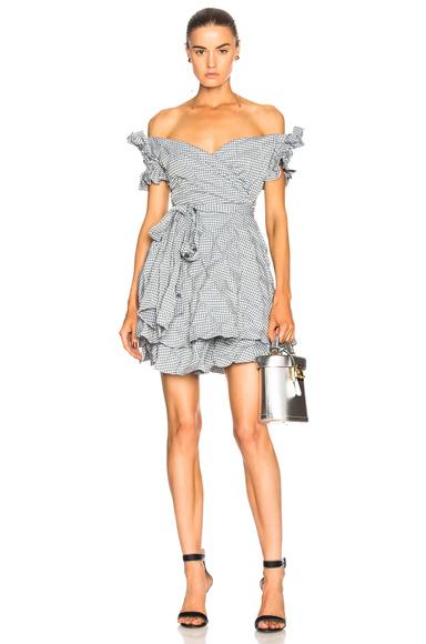 JONATHAN SIMKHAI Smocked Gingham Mini Wrap Dress in Blue, Checkered & Plaid