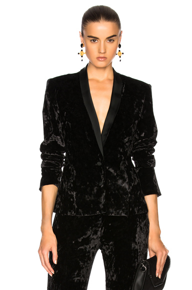 JONATHAN SIMKHAI Crushed Velvet Jacket in Black