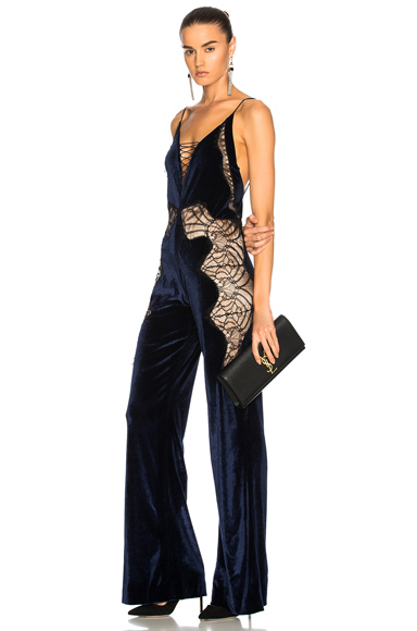JONATHAN SIMKHAI Stretch Lace Velvet Jumpsuit in Black in Blue