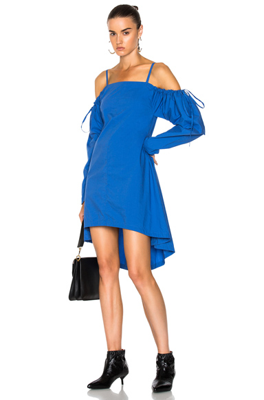 JW Anderson Washed Mini Tie Shoulder Dress in Blue