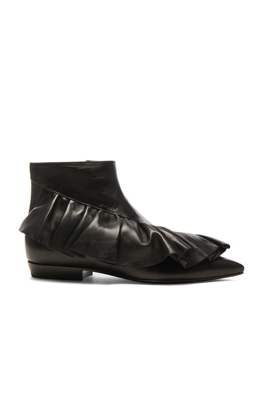 JW Anderson Leather Ruffle Booties in Black