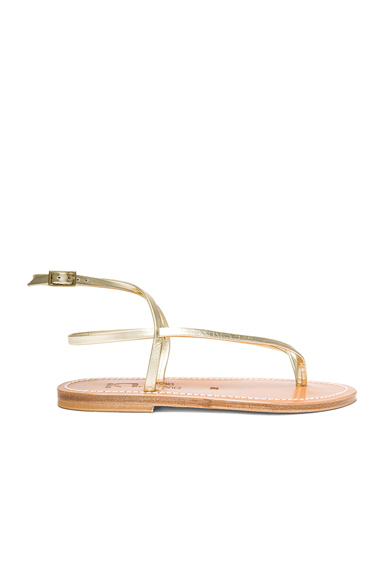 K Jacques Delta Metallic Leather Ankle Strap Sandals in Metallics