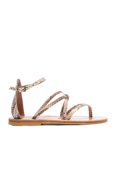 K Jacques Epicure Leather Sandals in Neutrals, Brown, Animal Print